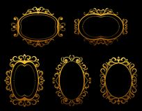 Golden vintage frames and borders Royalty Free Stock Photos