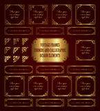 Golden vintage frames, corners and calligraphic design elements Royalty Free Stock Photo