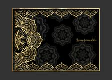 Golden vintage greeting card on a black background. Luxury ornament template. Great for invitation, flyer, menu, brochure, postcar. D, background, wallpaper Stock Images