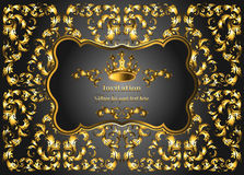Golden vintage invitation card with lot of detailed elements on black background. Royal crown and swirls in baroque style Stock Images