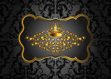Golden vintage invitation card with lot of detailed elements on black background. Royal crown and swirls in baroque style Royalty Free Stock Photography