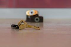 Golden vintage key Stock Images