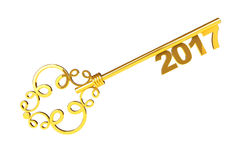 Golden Vintage Key with 2017 year Sign. 3d Rendering. Golden Vintage Key with 2017 year Sign on a white background. 3d Rendering Stock Photo