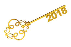 Golden Vintage Key with 2018 year Sign. 3d Rendering Stock Images