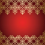Golden vector vintage ornament  on red background Royalty Free Stock Image
