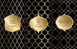 Golden vintage pattern on black background. Vector illustration. Gold abstract frame. Label set. Arabic pattern. Golden arabic pattern on black background Vector Illustration