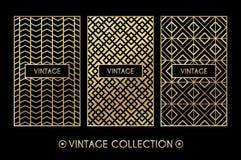 Golden vintage pattern on black background vector illustration