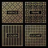 Golden vintage pattern on black background stock illustration