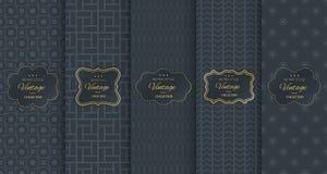 Golden vintage pattern on black background Stock Images