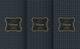 Golden vintage pattern on black background royalty free illustration