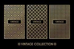 Golden vintage pattern on black background Royalty Free Stock Image