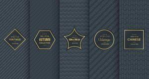 Free Golden Vintage Pattern On Black Background Royalty Free Stock Images - 101259199