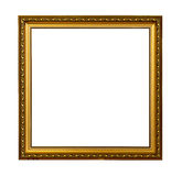 Golden vintage picture frame. Isolated on white background Royalty Free Stock Photography