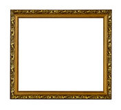 Golden vintage picture frame. Isolated on white background royalty free stock images