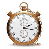 Golden vintage pocket watch vector illustration