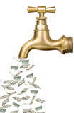 Golden vintage tap with money. Flowing out Stock Photo