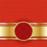 Golden vintage template for cover or postcard. Lattice of gold on a red background. Royalty Free Stock Photography