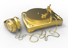 Golden vinyl player. 3D rendered illustration of a golden vinyl player. Golden headphones are attached to the player and the composition is  on a white Royalty Free Stock Images
