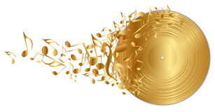 Free Golden Vinyl Record With Notes Royalty Free Stock Photos - 27053938