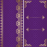 Golden and violet vector cards with arabic ornamen Royalty Free Stock Photography