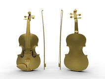 Golden violin front and back Stock Images