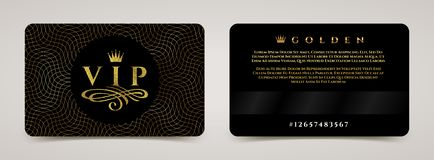 Golden VIP card template - type design with crown, and flourishes element on a guilloche background. Vector illustration royalty free illustration