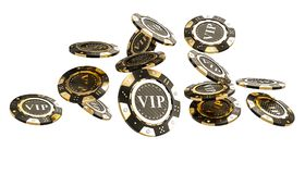 Golden vip casino chip 3d. 3d rendering image of golden and carbon vip chip with diamond vector illustration