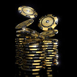 Golden vip casino chips. Luxury casino chip gold and diamond 3d rendering image Stock Images