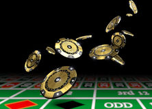 Golden vip casino chips. Luxury casino chip gold and diamond 3d rendering image Royalty Free Stock Photo