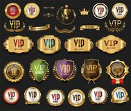 Golden VIP labels and badges collection. Illustration Stock Photo