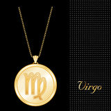 Golden Virgo Pendant Necklace  Stock Photo