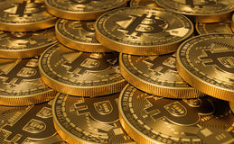 Golden Virtual Currency Coins Bitcoins. 3D Illustration Stock Image