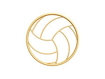 Golden volleyball symbol. Isolated on white background Stock Image