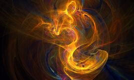 Free Golden Vortex Or Energy Discharge In Deep Darkness. Red, Yellow And Orange Hues. Royalty Free Stock Image - 212782566