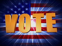 Golden vote with shining american flag Stock Photos