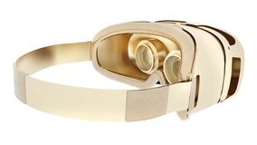 Golden VR headset isolated on white background. 3d illustration.  royalty free illustration