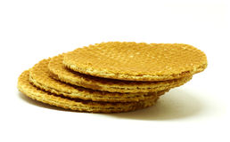 Golden waffle. Pile of double golden waffle with caramel royalty free stock images