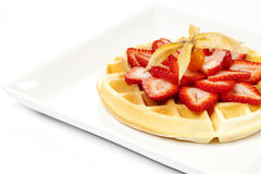 Golden Waffle with Strawberries Royalty Free Stock Images