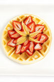 Golden Waffle with Strawberries Royalty Free Stock Photo