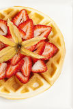 Golden Waffle with Strawberries Royalty Free Stock Photography