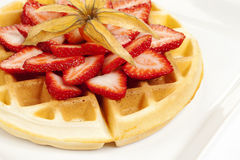 Golden Waffle with Strawberries Stock Image