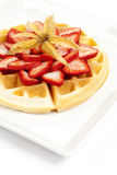 Golden Waffle with Strawberries Stock Photos