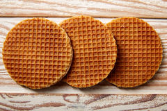 Golden Waffle wafer biscuits in a row Royalty Free Stock Photos