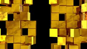 Golden Wall of cubes divide. Golden Wall of cubes is divided into separate blocks and moves apart in opposite directions. Abstract transition, 3D animated intro royalty free illustration