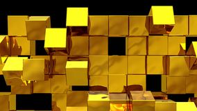 Golden Wall of cubes falls apart. Blocks are moving out of flat surface and fall down. Abstract transition, 3D animated intro. Transparent background ProRes royalty free illustration