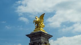 Golden Warrior Statue in paris. Low angle view of Golden Warrior Statue in paris Stock Image