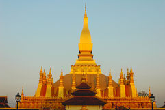 Golden Wat in  Laos Stock Photo