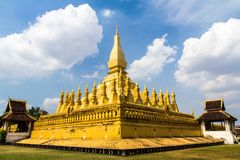 Golden Wat That Luang in Vientiane, Laos. Pha That Luang according to the Lao people was originally built as a Hindu temple in the 3rd century. Buddhist Royalty Free Stock Photo