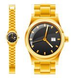 Golden watch with bracelet Stock Photos