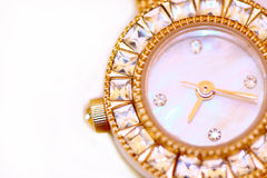 Golden watch with diamonds Royalty Free Stock Photo